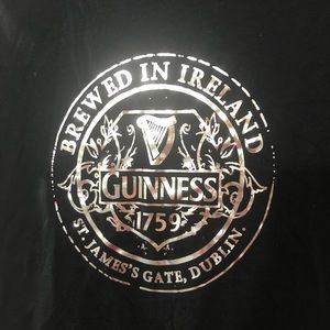 Guinness Beer Shirt NWT Black with silver